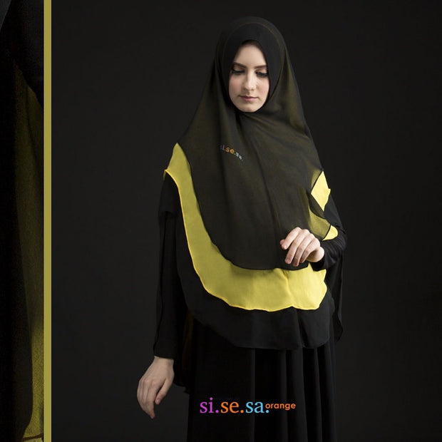 ZAINAH Khimar in Black Yellow