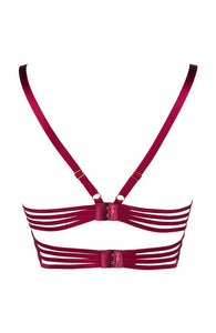 Bordeaux rød blonde bustier bh med multi cage-strap - ETERNITY