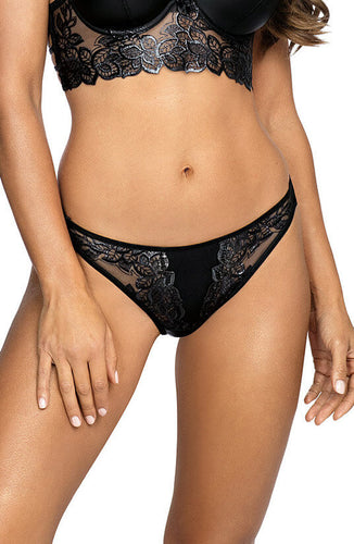Sort string trusse med glossy blonde - OBSESSION