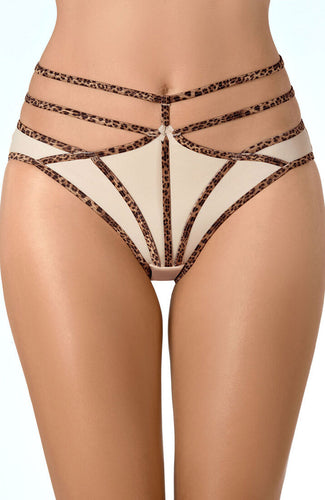 ACROSS - Beige brief trusse med leopard