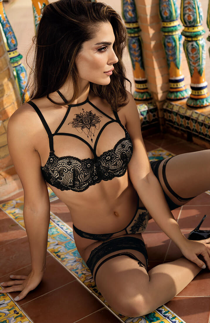 PROVOCATEUR - Sort blonde push-up bh