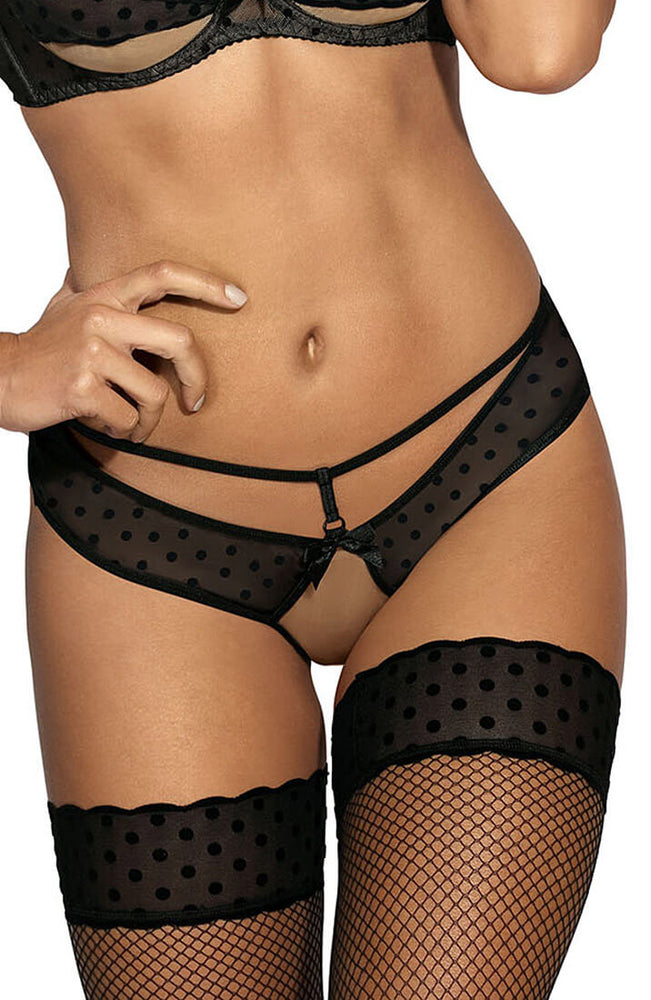 CRUSH - Sort g-string med prikker