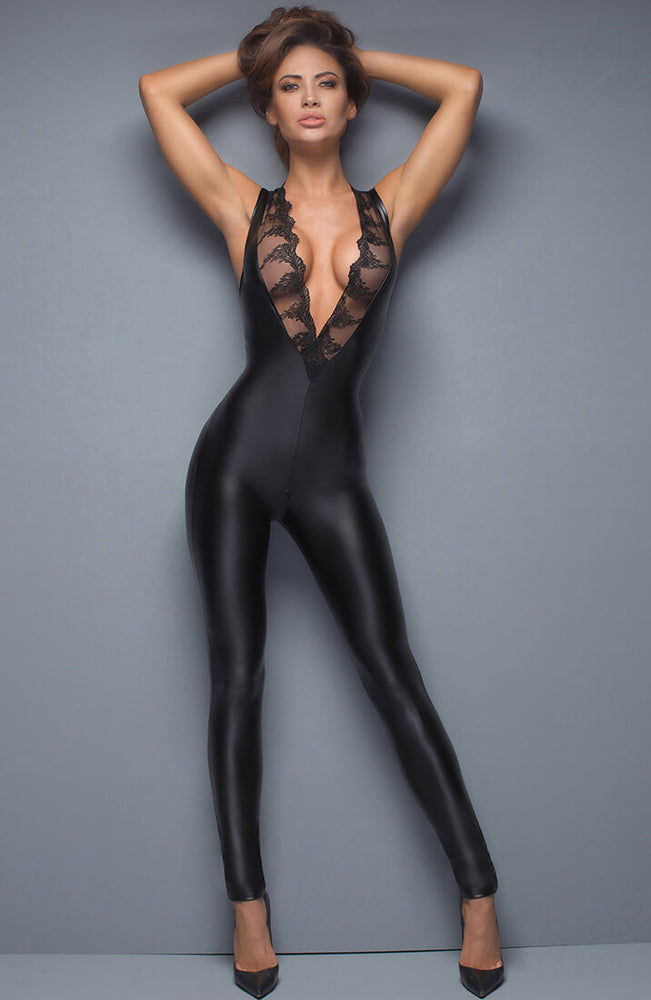 Catsuit med broderi - Cleavage