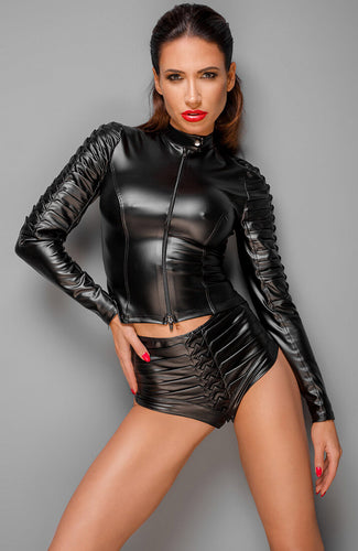 ENVY - Wetlook biker jakke