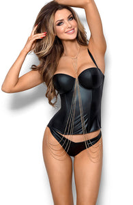 INFATUATED - Sort wetlook bustier
