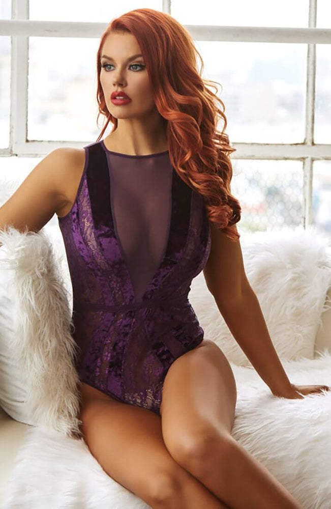 Lilla velour bodysuit - Purple Glam
