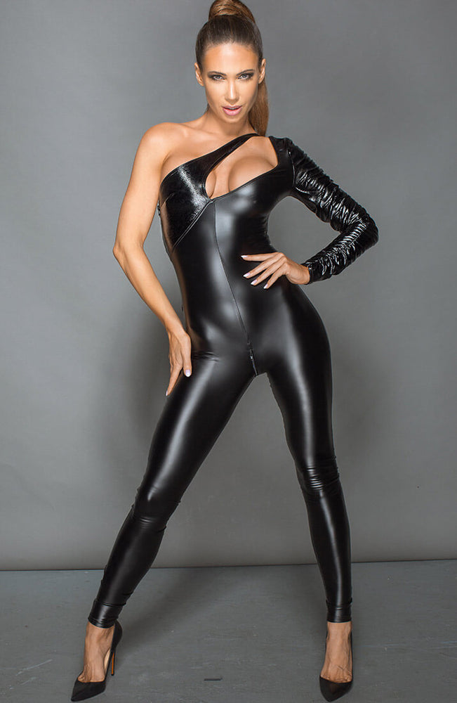 One shoulder wetlook catsuit - Gutsy