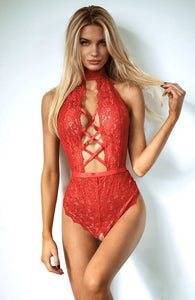 Rød bundløs bodysuit - Seduce Me In Red