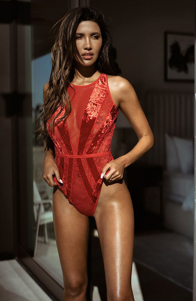 Rød velour bodysuit - Red Glam