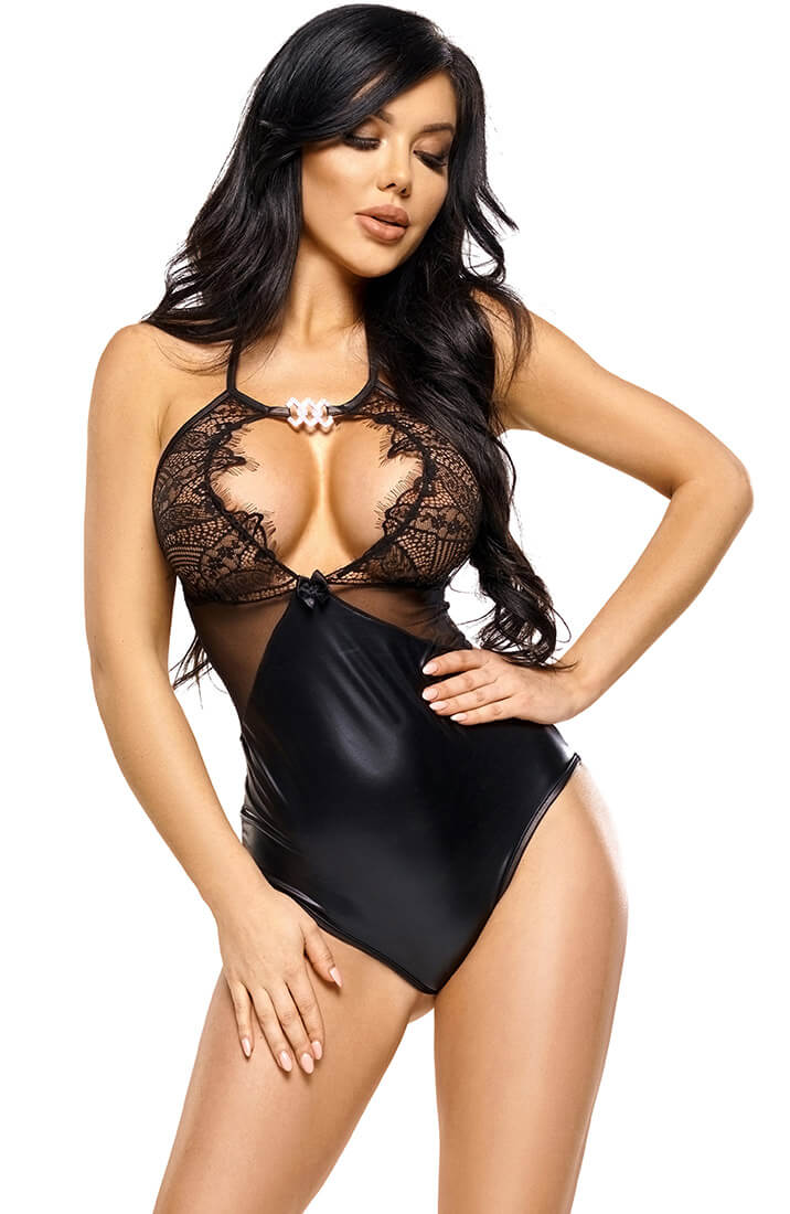 Sort bodysuit i wetlook - Leona