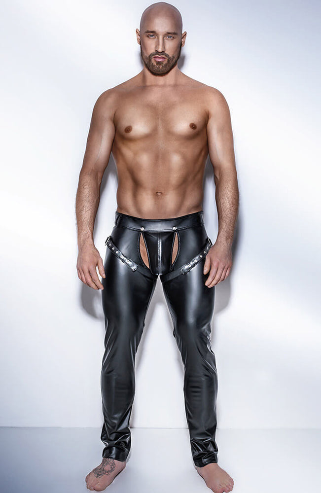 Wetlook bukser med harness - HUNK