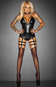 Wetlook cage teddy med strømpeholdere - OUTRAGEOUS