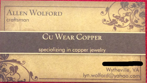 American Gypsy Herbalist- CU+ Wear Copper - Hand-Made and Hand-Crafted Jewelry from the Appalachian Mountains
