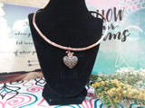 Copper Cleopatra Cuff with Heart Pendant
