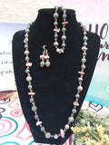 "CU+ Wear Copper, Set of Handcrafted Jade and Jasper  22"" Necklace, 7"" Bracelet, and Earrings"