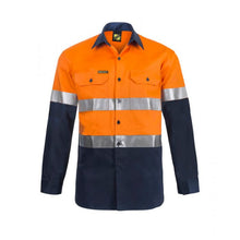 Load image into Gallery viewer, WorkCraft Lightweight Hi Vis Long Sleeve Vented Cotton Drill Shirt with R/Tape