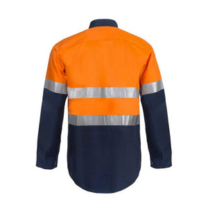 WorkCraft Lightweight Hi Vis Long Sleeve Vented Cotton Drill Shirt with R/Tape