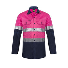 Load image into Gallery viewer, WorkCraft Hi Vis Two Tone Long Sleeve Vented Cotton Drill Shirt