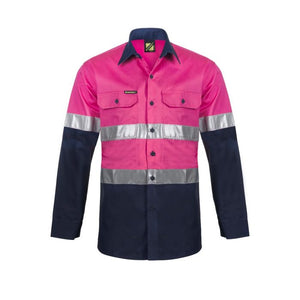 WorkCraft Hi Vis Two Tone Long Sleeve Vented Cotton Drill Shirt