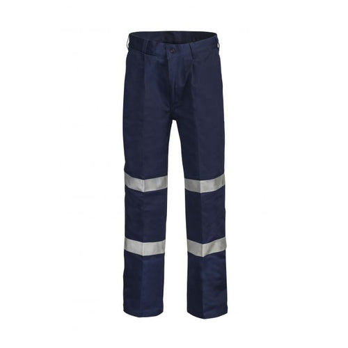 WorkCraft Classic Single Pleat Cotton Drill Pant with R/Tape