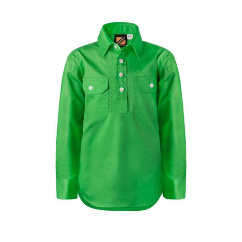 Kids Lightweight Long Sleeve Half Placket Cotton Drill Shirt