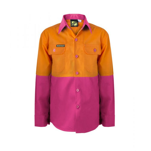Kids Lightweight Two Tone Long Sleeve Cotton Drill Shirt