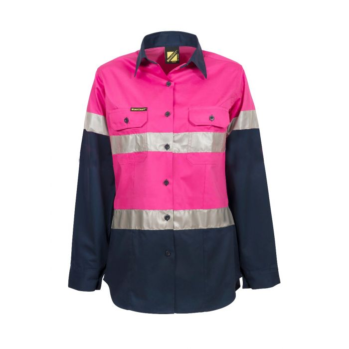 WorkCraft Ladies Lightweight Hi Vis Two Tone Shirt Long Sleeve