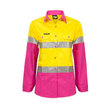 Load image into Gallery viewer, WorkCraft Ladies Lightweight Hi Vis Two Tone Shirt Long Sleeve