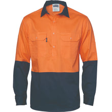 Load image into Gallery viewer, HiVis Two Tone Close Front Cotton Drill Shirt - long sleeve Guss et Sleeve