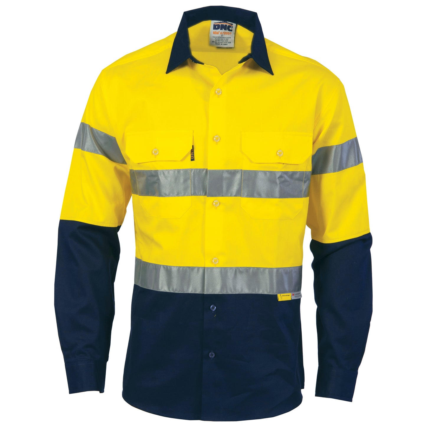 HiVis Two Tone Cotton Drill Shirt With 3M R/Tape - long sleeve