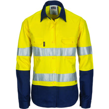 Load image into Gallery viewer, Ladies HiVis Two Tone Cool-Breeze Cott on Shirt with 3M R/Tape - Long sleeve