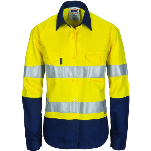 Ladies HiVis Two Tone Cool-Breeze Cott on Sh irt with 3M R/Tape - Long sleeve