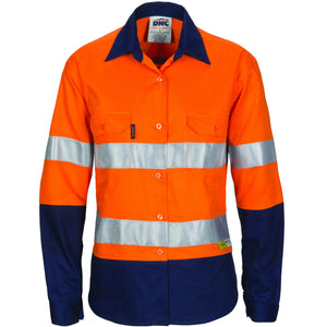 Ladies HiVis Two Tone Cool-Breeze Cott on Shirt with 3M R/Tape - Long sleeve