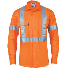 Load image into Gallery viewer, HiVis D/N Cotton Shirt with Cross Back Generic R/Tape - long sleeve