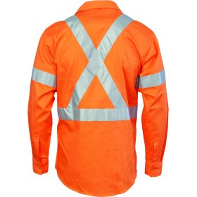 HiVis D/N Cotton Shirt with Cross Back Generic R/Tape - long sleeve