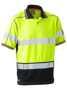 Taped Two Tone Hi Vis Polyester Mesh Short Sleeve Polo Shirt
