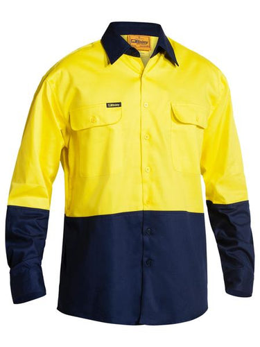 Bisley 2 Tone Hi Vis Drill Shirt - Long Sleeve