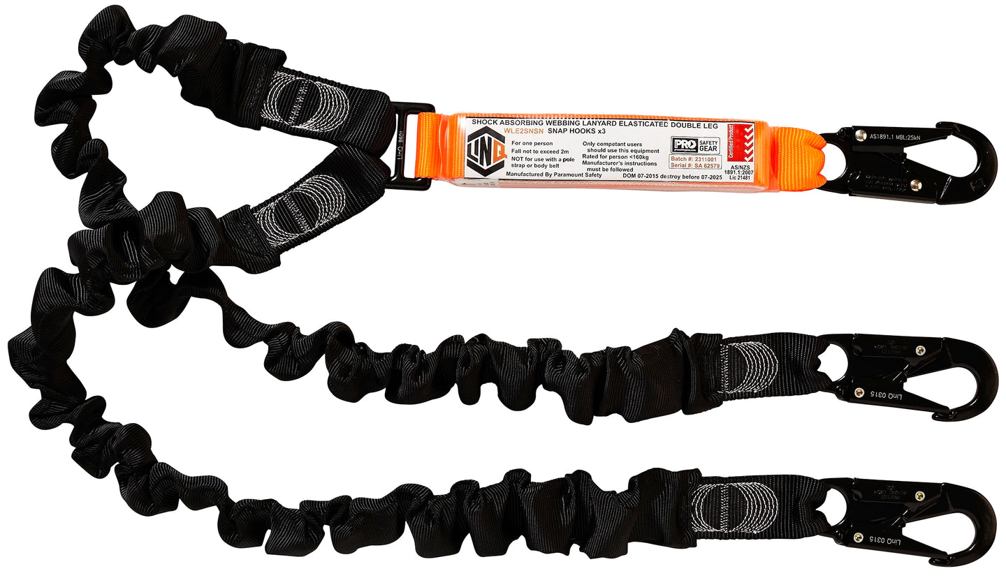 Elite Double Leg Elasticated Lanyard with HArdware SN X3 - WLE2SNSN