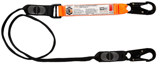 Elite Single Leg Shock Absorbing Webbing Lanyard With Hardware SN X2 - WLO1SNSN
