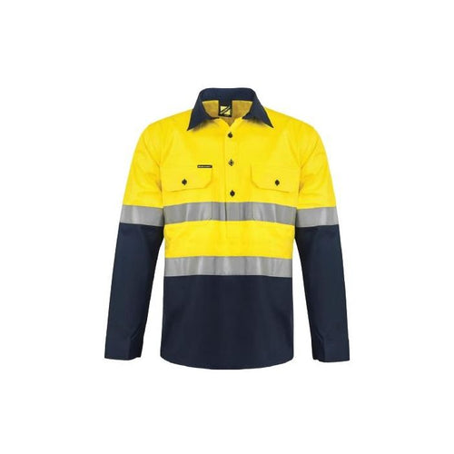 WorkCraft Hi Vis Two Tone Half Placket Cotton Drill Shirt