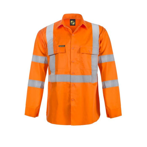 WorkCraft Hi Vis Long Sleeve Shirt with X-Back & R/Tape