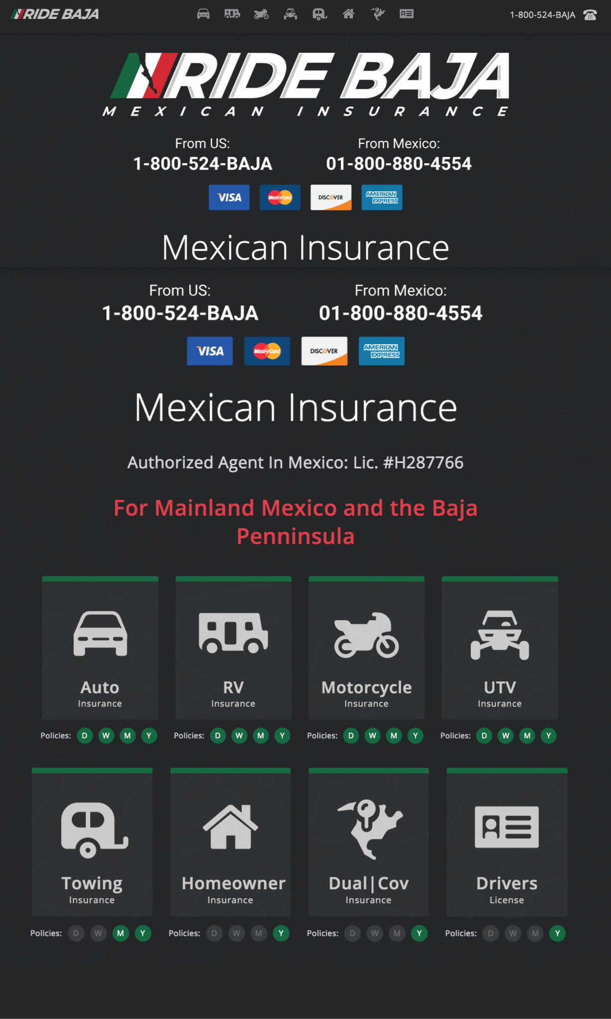 Ride Baja Mexican Insurance for Baja and Mainland Mexico