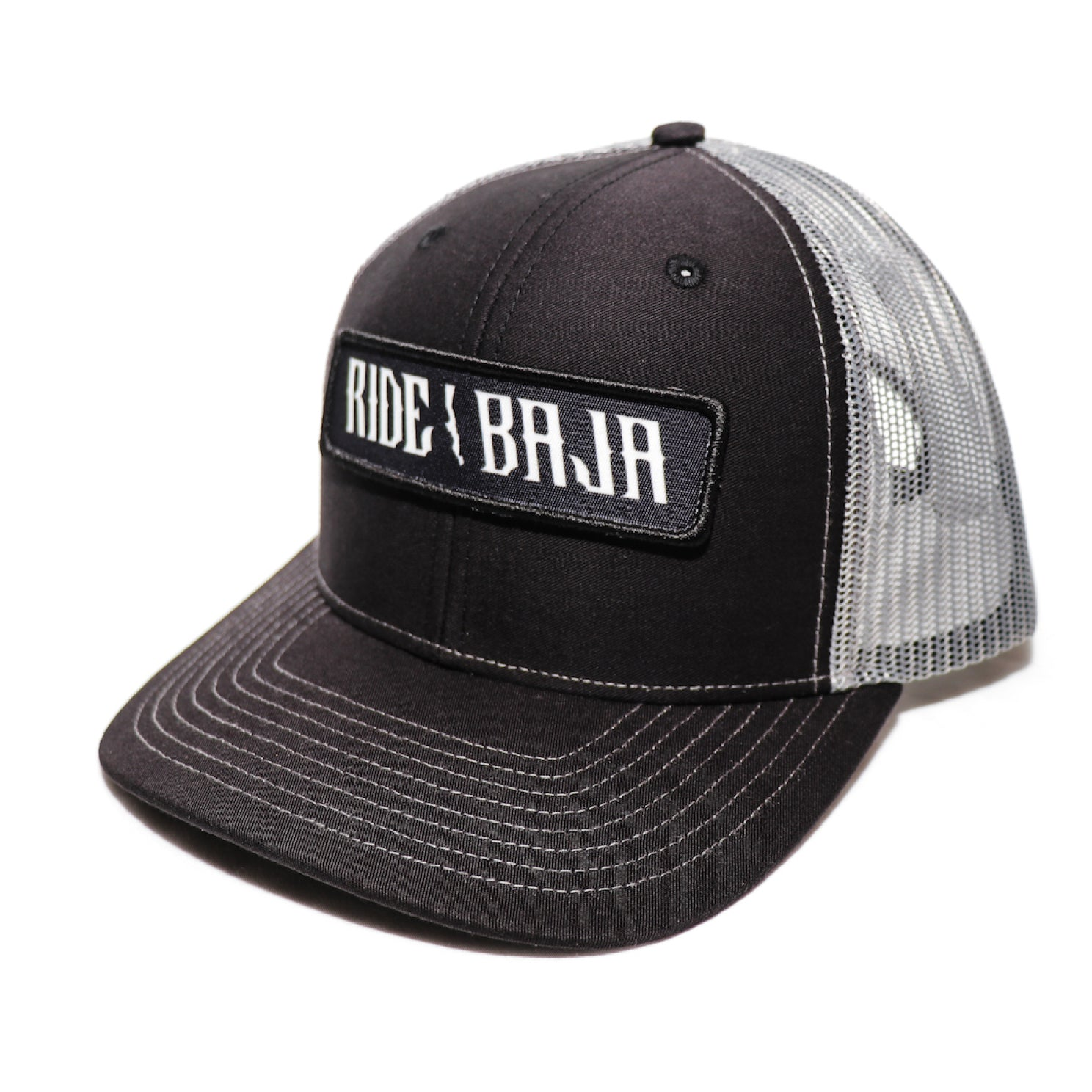 Classic Ride Baja Patch Hat - Black / Silver Mesh