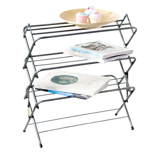 Zenree 4-Tier Multi Function  Folding Storage Organizer ,  Shoe Rack Shelf , Pewter