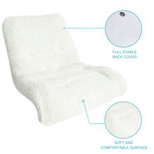 Zenree Comfortable Padded Reading Chair  Bedroom Vanity Lounge , White Sherpa