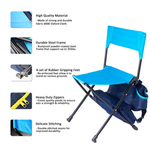 Zenree Oversized Folding Backpack Chair Camping Stool with Cooler ,Blue Combo