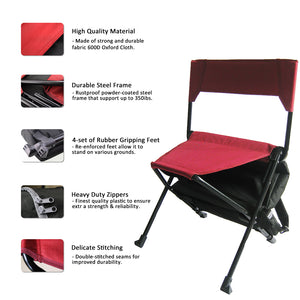 Zenree Portable Camping Sports Chair Folding Backpack Chair  with Cooler , Black Red Combo
