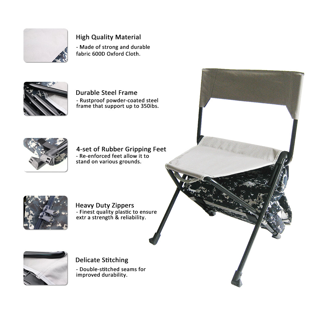 Zenree Oversized Folding Backpack Chair Camping Stool  with Cooler , Camo
