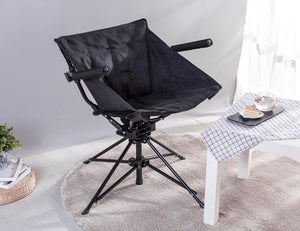 Zenree Collapsible Tufted Swivel chair Padded Seat and Armrest ,Ebony