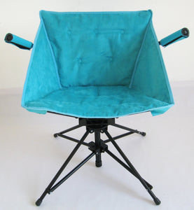 Zenree Collapsible Tufted Swivel chair  Padded Seat and Armrest , Skyblue